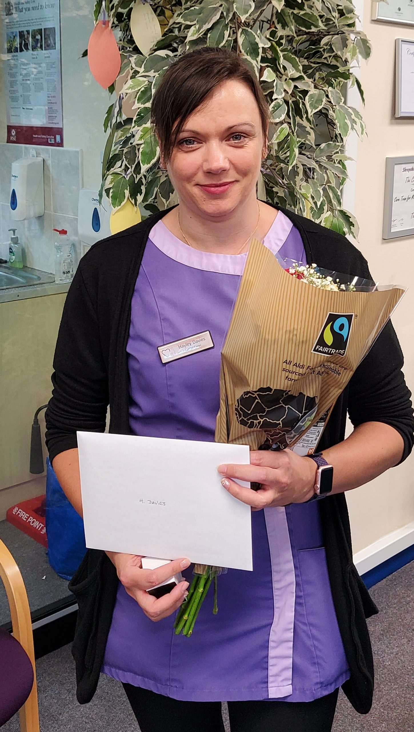 Congratulations to Hayley Davies who has also received her 5-years long service award. (Hayley and Ben joined the Company on the same day). Hayley is our most experienced Senior Carer, having been in this post since she joined the Company. In that time, she has achieved her Level 3 Qualification in Care, juggling family and work commitments as she studied. Hayley brings and air of efficiency and calm and is a really good contributor to the Senior Care Team. Thank you Hayley for everything you have done for the Company, your colleagues and especially your clients.