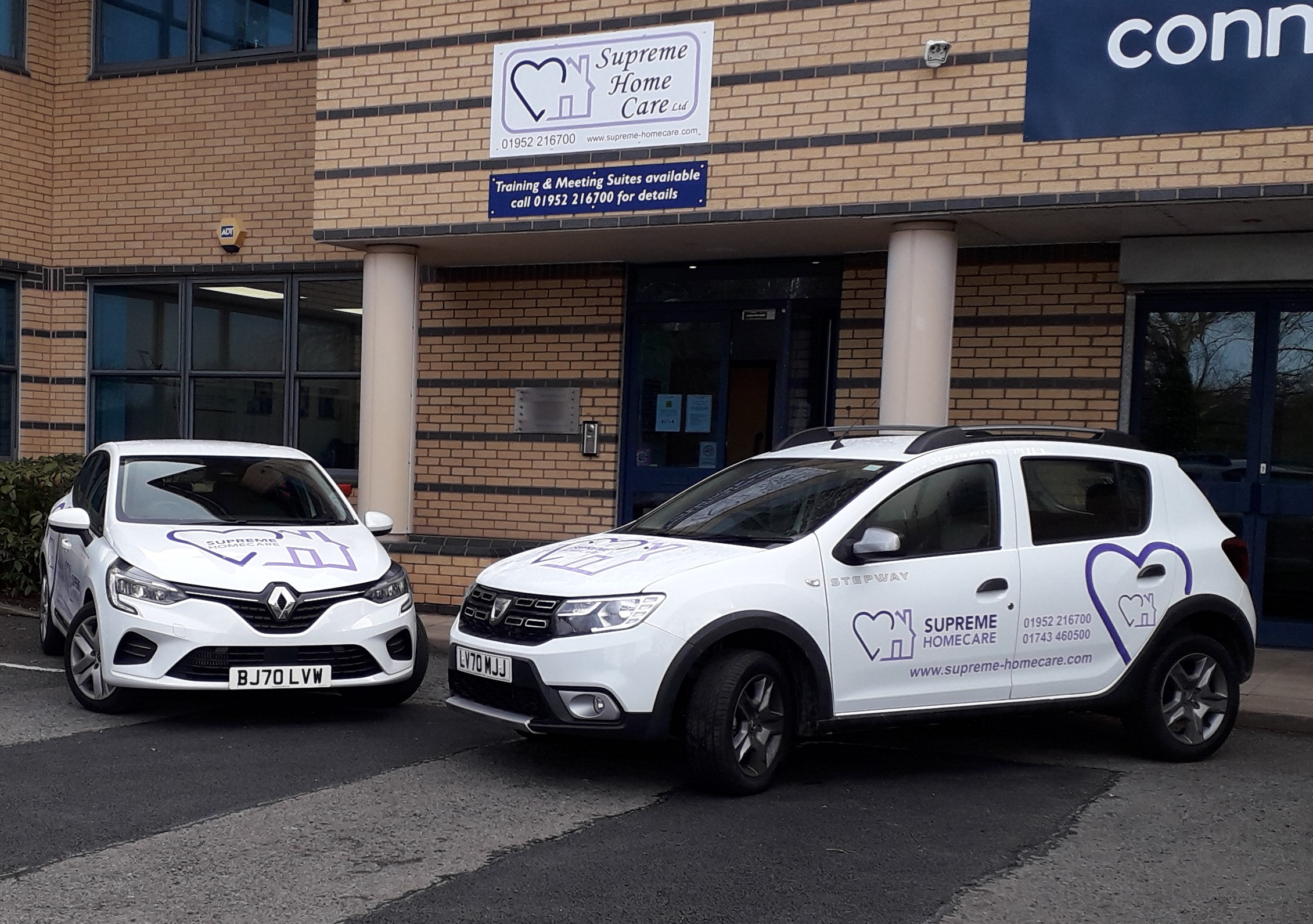 Supreme Home Care has taken delivery of its new fleet cars with their striking livery (thanks to Signs Express Telford). Business Director Sue Robson said 'It's important that staff are able to fulfil their carer commitments, even if their own car is off the road. This is particularly important during Covid-19 when we are trying to limit the number of staff visiting each client, we don't want to have to schedule replacements. We are able to lend our staff a pool car so they can continue to see their clients as planned without having to travel on public transport.'